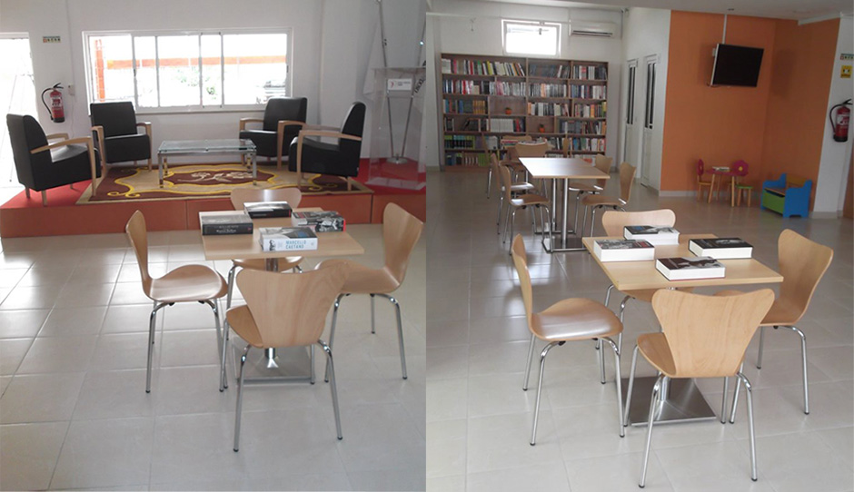 Sesis mobili rio de escrit rio equipa o caf livraria - Mobiliario de cafeteria ...